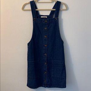 Thrifted denim button up overall dress